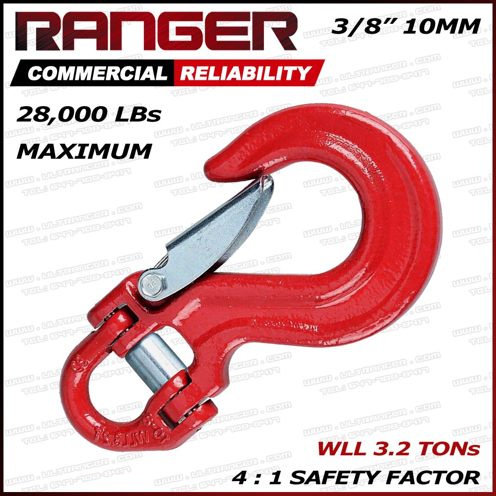 Ranger Half-Link Clevis Safety Latch Swivel Winch Hook 4X4 Application OFF-ROAD RECOVERY (WLL 3.2 Tons Break Point 28,000 LBs) by RANGER ULTRANGER