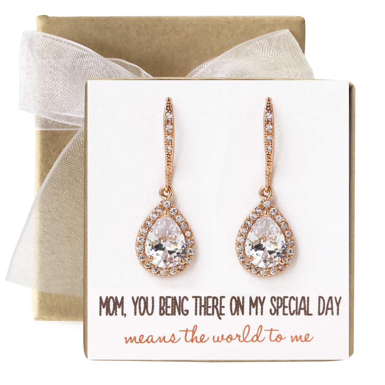 AMY O Mother of The Bride Gift Drop Earrings or Jewelry Set in Silver, Yellow Gold, Rose Gold