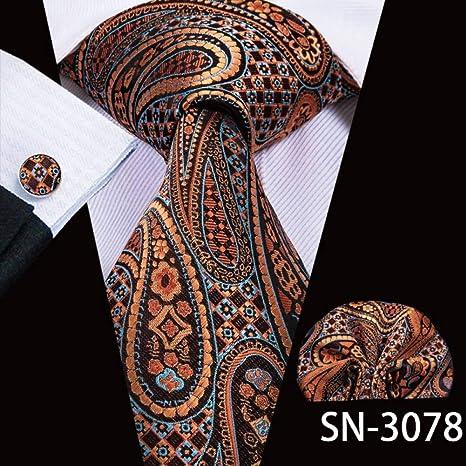 WOXHY Corbata Corbata Seda Marrón Paisley Corbatas Florales para ...