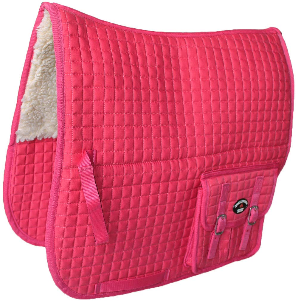 Horse Quilted ENGLISH SADDLE PAD Pockets Fleece Padded Dressage Australian 7275
