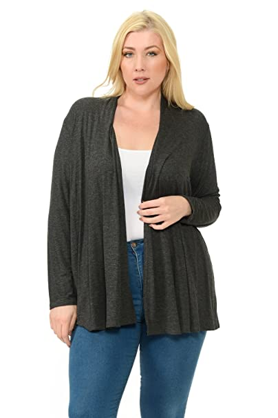 13f67e43a1 Pastel by Vivienne Women s Long Sleeve Jersey Plus Size Cardigan X-Large  Charcoal