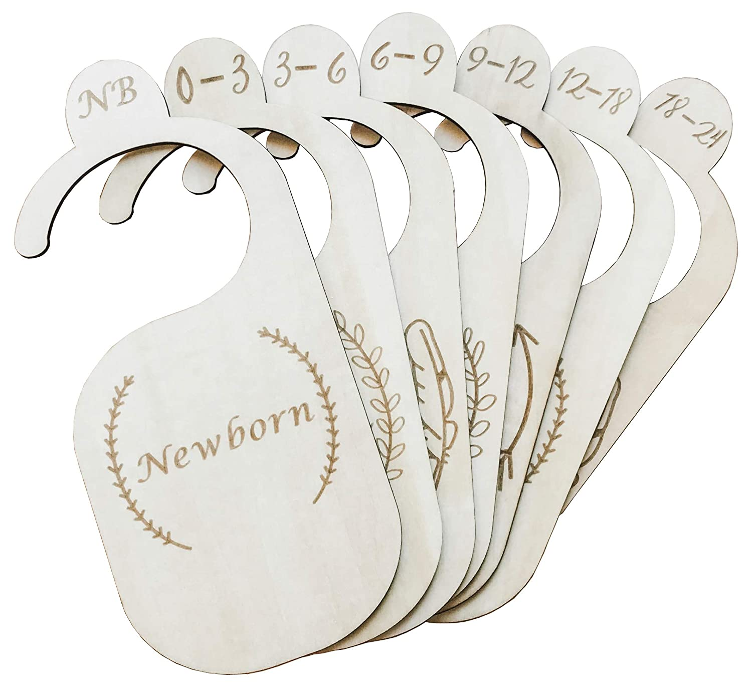 Premium Wood Baby Closet Dividers by Northwell, Set of 7: Baby Closet Organizers, Baby Nursery Decor, Baby Clothes Organizers, Baby Shower Gift - Made of Genuine Wood
