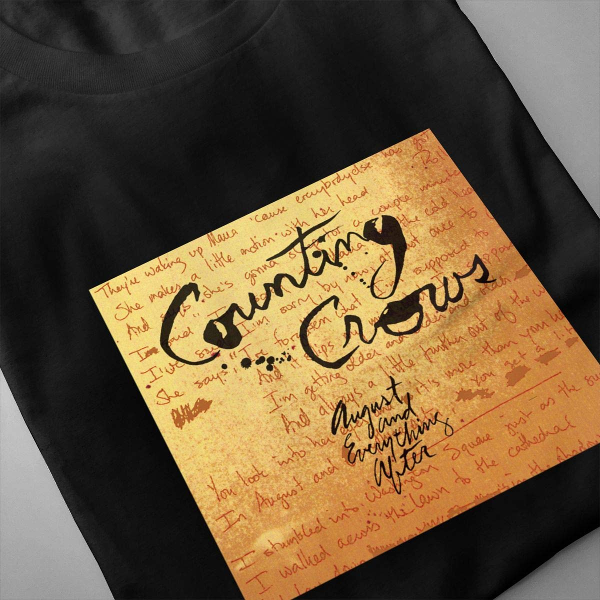 Linqarcon Mens Design with Counting Crows August and Everything After Fashion Round Neck Short Sleeve T Shirt Black