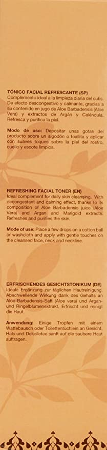 Argan-Aloe 70140 - Tónico facial refrescante con aloe y argán, 250 ...
