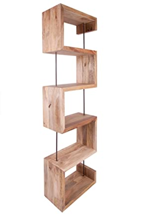 funky style reclaimed wood s shape tall bookshelvesbookcases made from solid recycled wood - Funky Bookshelves