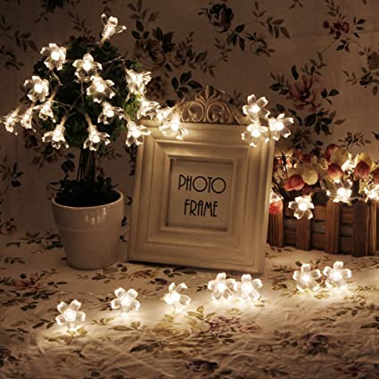 Amazon battery operated string lights led sakura fairy light battery operated string lights led sakura fairy light flower for bedroom and indooroutdoor christmas mozeypictures Images