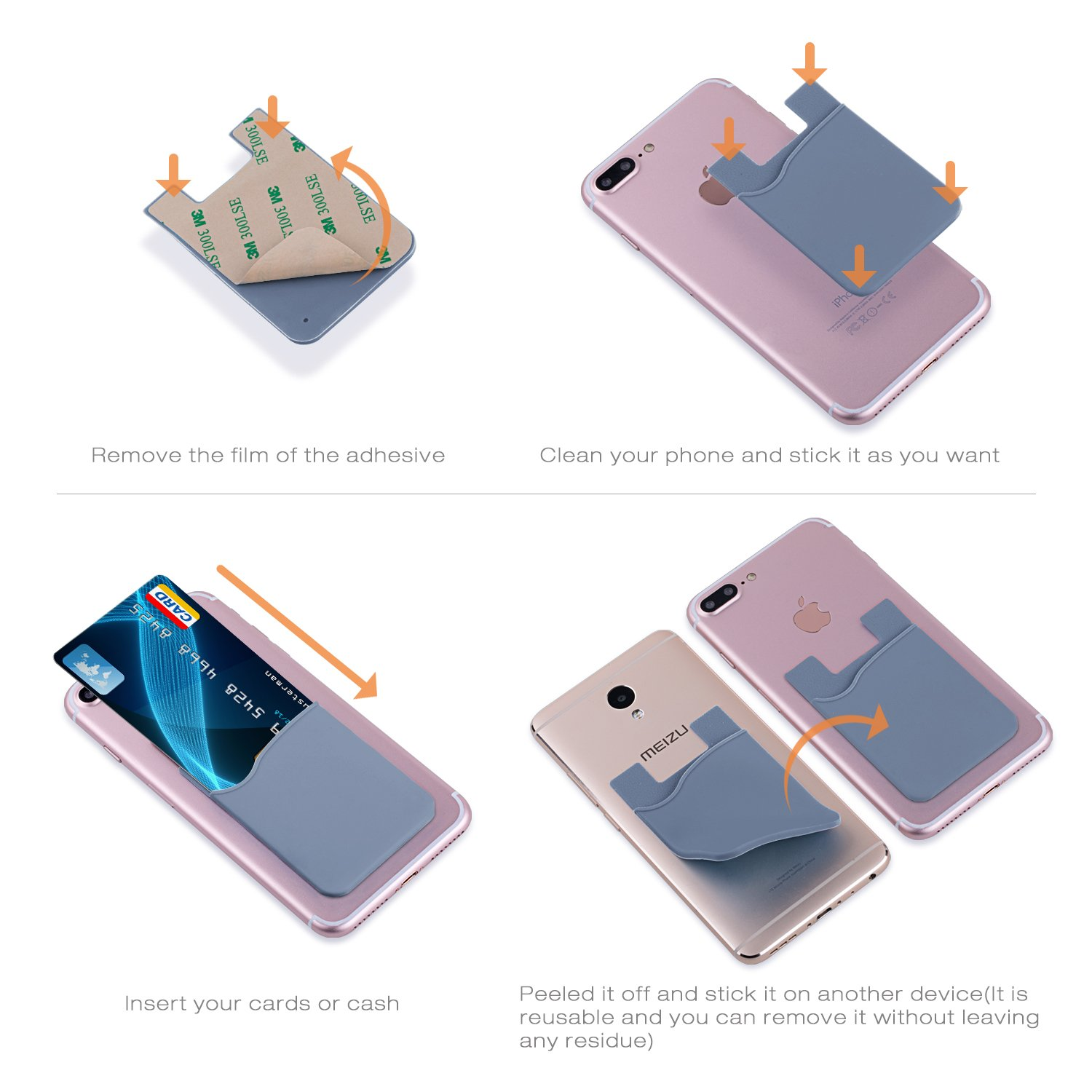 Samsung Galaxy S9 S8 White Gray Pink Purple Green Blue Costyle 6 Pack TPU Silicone Ultra Slim Thin Self Adhesive Stick On Back of Phone Wallet Credit ID Card Holder Pouch Sticker Compatible iPhone X