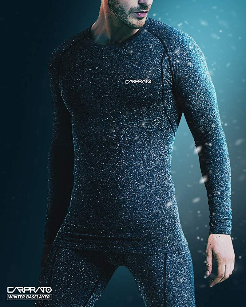 CARPRATO Mens Thermal Wintergear Compression Activewear Sports Baselayer