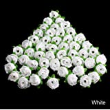 Mimgo Store 50Pcs Roses Artificial Silk Flower Heads DIY Small Bud Party Wedding Home Decor (White)