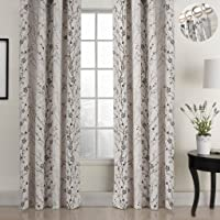 ChadMade Country Style Plum Blossom Polyester 50Wx63L Inch (1 Panel) Blackout Lined Curtain Drape Silver Nickel Eyelet Grommet SOFITEL Collection for Bedroom   Living Room   Club   Restaurant