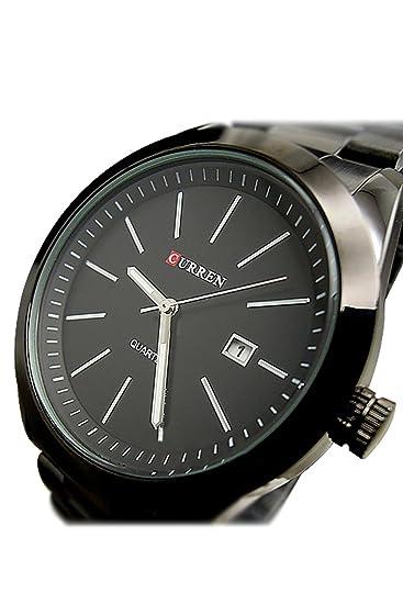 Reloj de hombre - CURREN Reloj de pulsera de acero inoxidable de cuarzo de hombre de deporte Negro: Amazon.es: Relojes