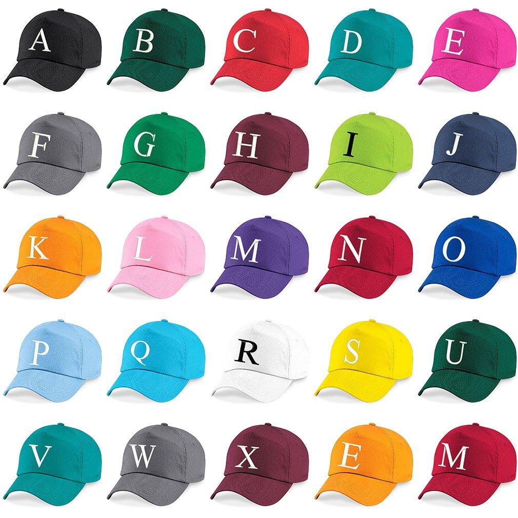 4sold Casquette Unisexe Broderie Coton Baseball Cap Gar/çons Filles Hip Hop Flat Hat Bonnet A-Z Alphabet Gris Graphite