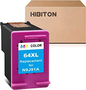 HibiTon Remanufactured Ink Cartridge Replacement for HP 64XL 64 XL Work with Envy Photo 7800 7858 7155 7855 6255 6252 7158 7164 6222 7120 7130 Tango X Smart Home Wireless Printer (Tri-Color) 1 Pack