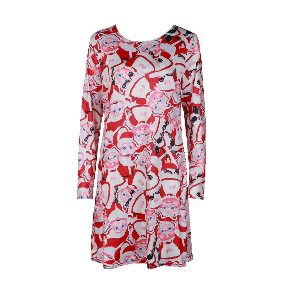 Women Party Dress, BeautyVan Women's Long Sleeve Christmas Print Xmas Gifts Casual Knee Long Dress BeautyVan-Dress