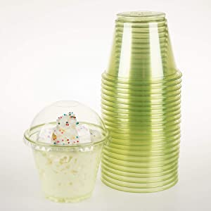 GOLDEN APPLE, 9oz-25sets Green Plastic Cups with Clear Dome lids No Hole