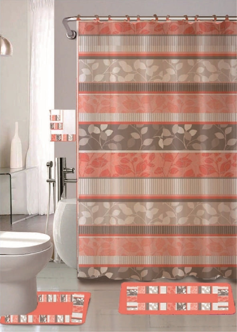 Zen Peach 18-piece Bathroom Set: 2-rugs/mats, 1-fabric Shower Curtain, 12-fabric Covered Rings, 3-pc. Decorative Towel Set
