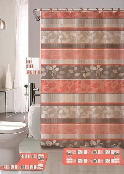 Zen Peach 18 Piece Bathroom Set 2 Rugs Mats 1
