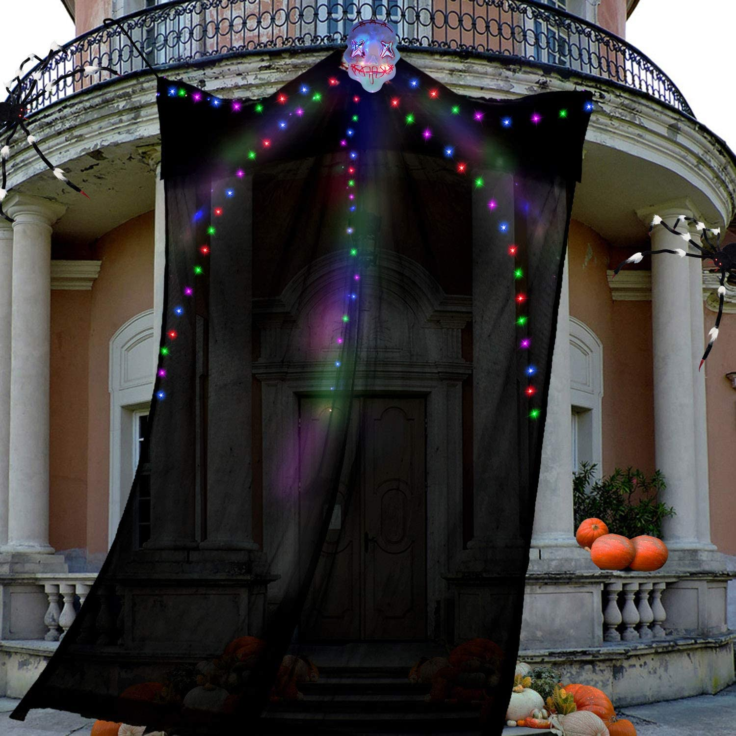 TURNMEON Halloween Decorations Outdoor 10 Ft Hanging Lighted Glowing Ghost Tree Decorations, 80 LEDs Scary Ghosts Spooky Props Indoor Outdoor Patio, Garden, Gate, Yard, Halloween Decorations