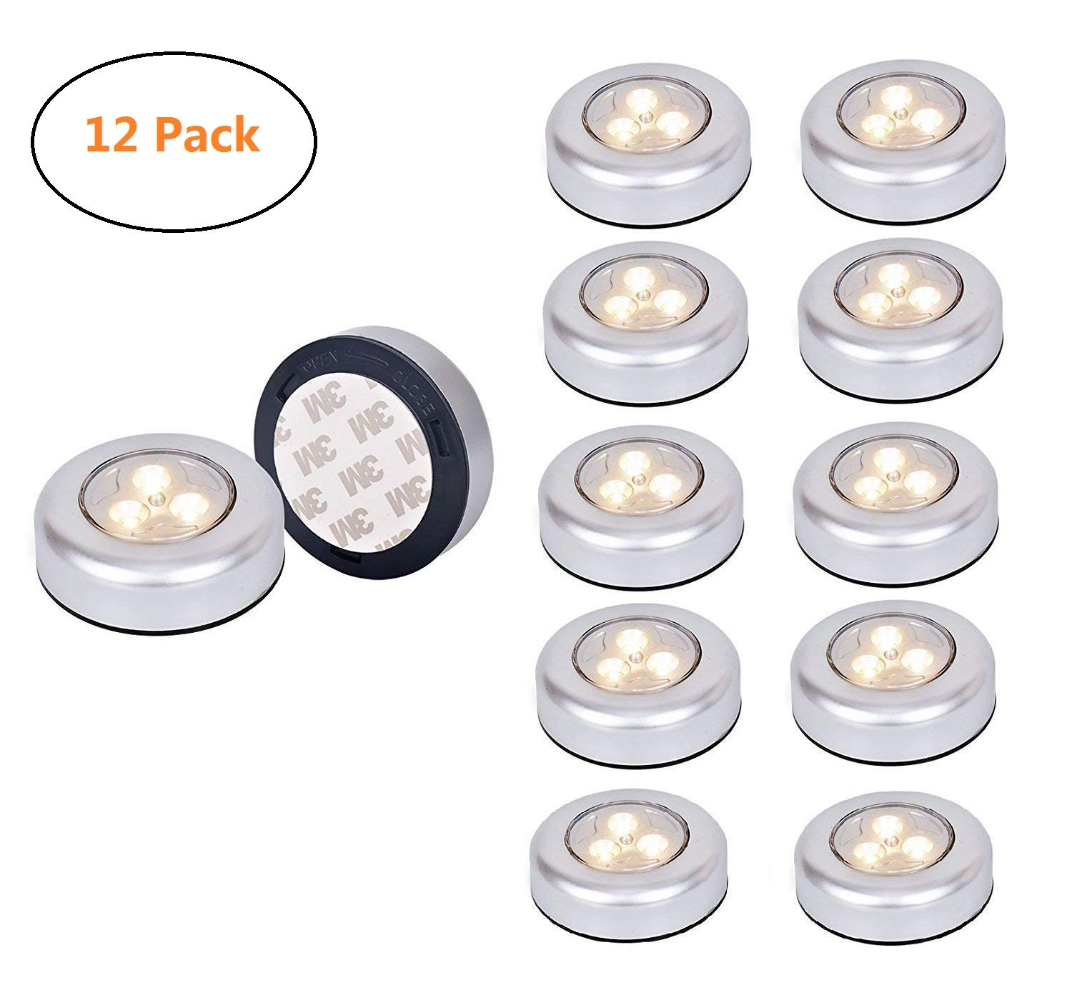 12 Pack warm Tap Lights,Ledinus LED Battery Operated Lights Stick On Touch Lamp Wireless Night Light for Closets, Cabinets, Counters, or Utility Rooms,Cordless Touch Light,Batteris Not Included by LEDINUS (Image #1)