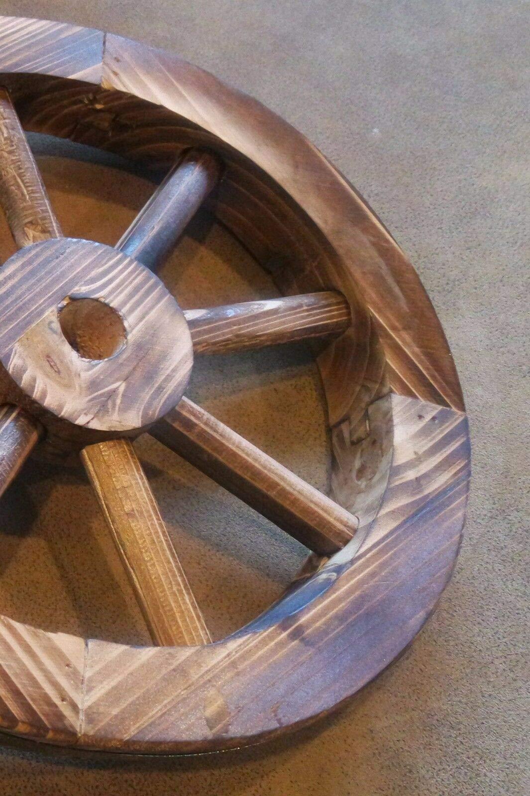 Galapagoz Wooden Wagon Wheels Burnt Wood Wheel Look Garden Decor Table Centerpiece Decorative 12'' 2 Pack US by Galapagoz (Image #7)