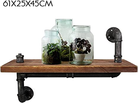 CVHOMEDECO 7-7//8 X 6 X 7 Inch Rustic Antique Iron Water Pipe with Wooden Board Bookshelf Wall Mounted Display Rack Simple Hanging Iron Water Pipe Shelves