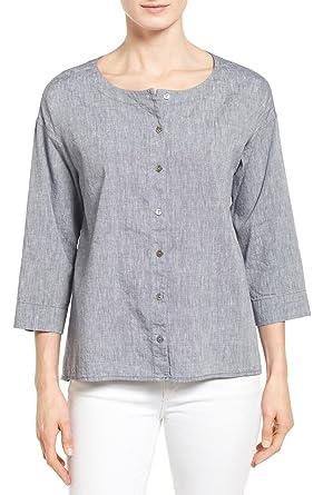 2f72990f3fa0 Eileen Fisher Denim Linen & Cotton Ballet Neck High/Low Shirt (M) at ...