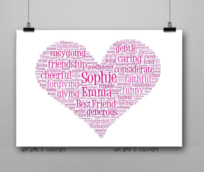 UPK Gifts Personalised Love Heart Keepsake Print Gift Word Art Son Best Friends Daughter Mum Dad
