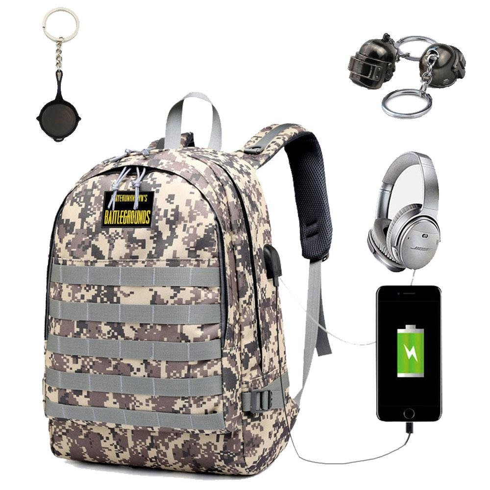 Amazon.com  FOONEE PUBG Backpack USB Charging Backpack PUBG Backpack Level  3 with Helmet Pendant Pan Pendant Paste  Computers   Accessories a12b08e42123f