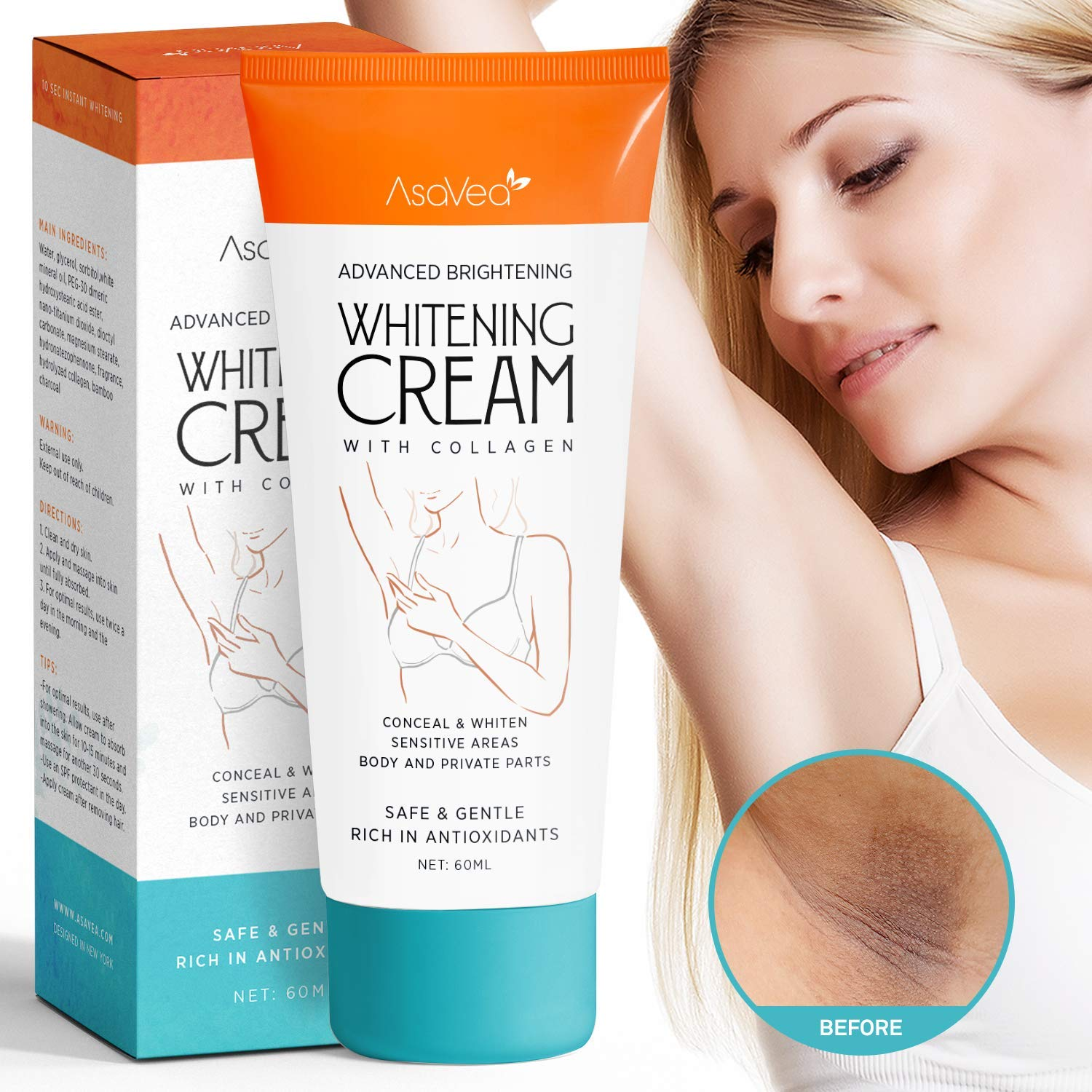 Underarm Whitening Cream,Lightening Cream Effective for Lightening & Brightening Armpit, Knees, Elbows, Sensitive & Private Areas, Whitens, Nourishes, Repairs & Restores Skin by Asavea by AsaVea
