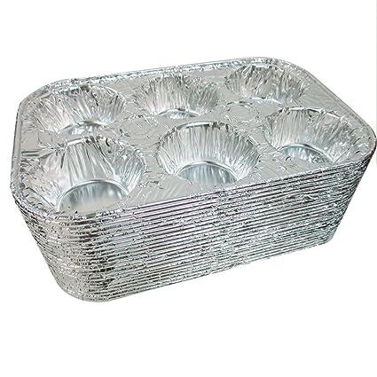 50 PK de 6 Cavidad cacerola de aluminio para tartas molde para magdalenas Cupcake desechables comida