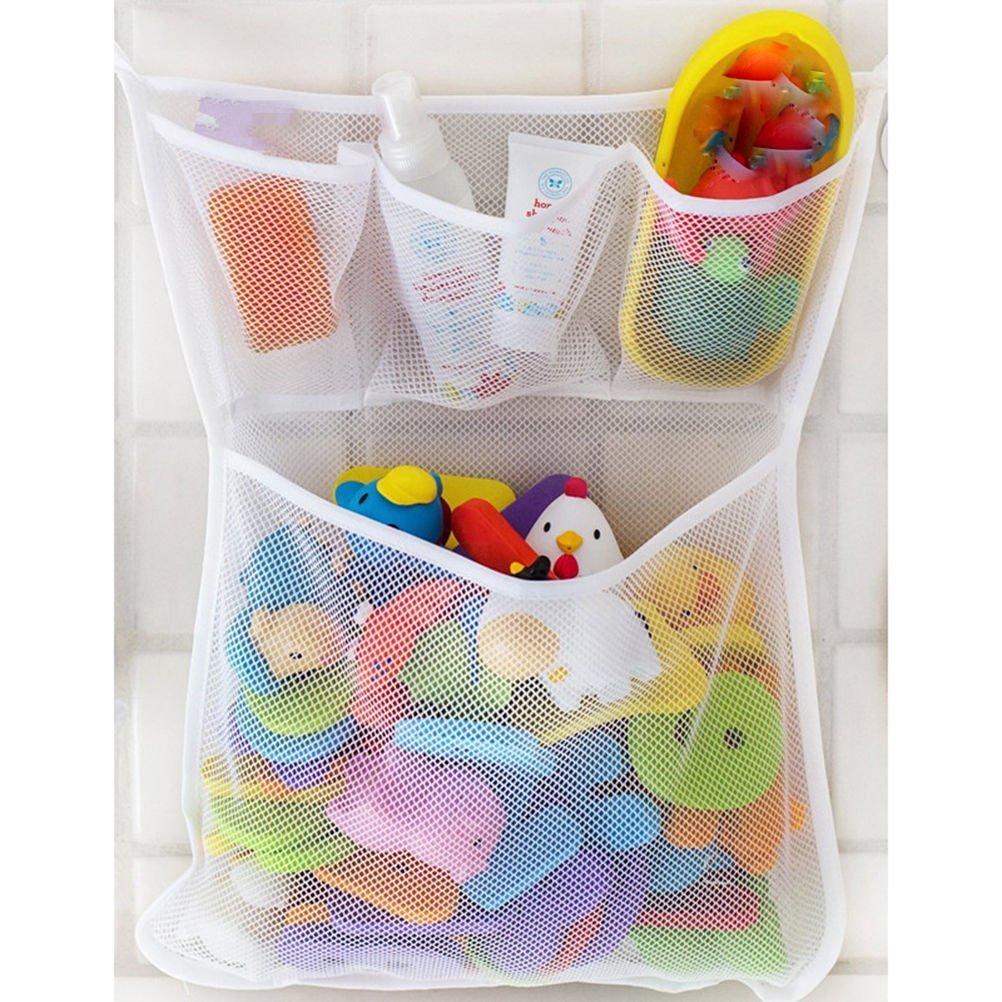 OFYE Bolsa de almacenamiento para baño y bañera, organizador de juguete, red de malla, soporte con ventosa