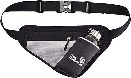 travel sport waist pack fanny pack hiking bum bag with water bottle holder,Black