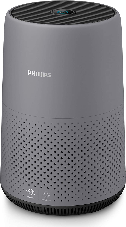 Philips AC0830/10 - Purificador de Aire Para Hogar, Elimina Hasta 99,5% De Los Alérgenos, Tamaño Compacto Con Indicación En Color Y Silencios, color gris, Superficie: 49 m²