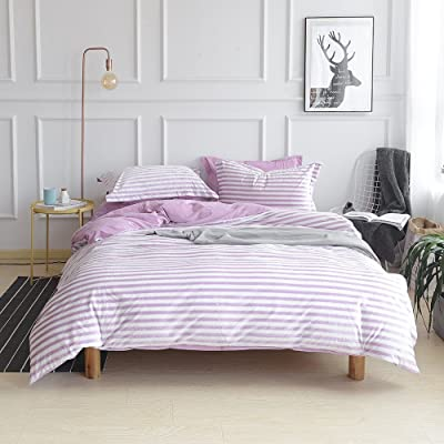 on sale 72242 de14f AMWAN Flannel Purple Striped Twin Duvet Cover Set Kids Girls ...
