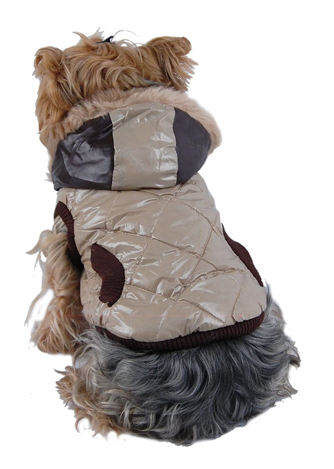 Anima Quilted Jacket with Hood X-Small Tan and Brown