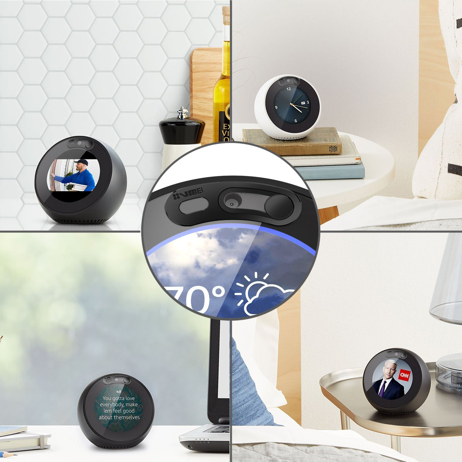 Echo Spot Webcam Cover[2-Pack] -The metal covers can cover Echo Spot's camera then protect the privacy of all users .Very easy to install.Designed By VMEI (Black) by VMEI (Image #3)