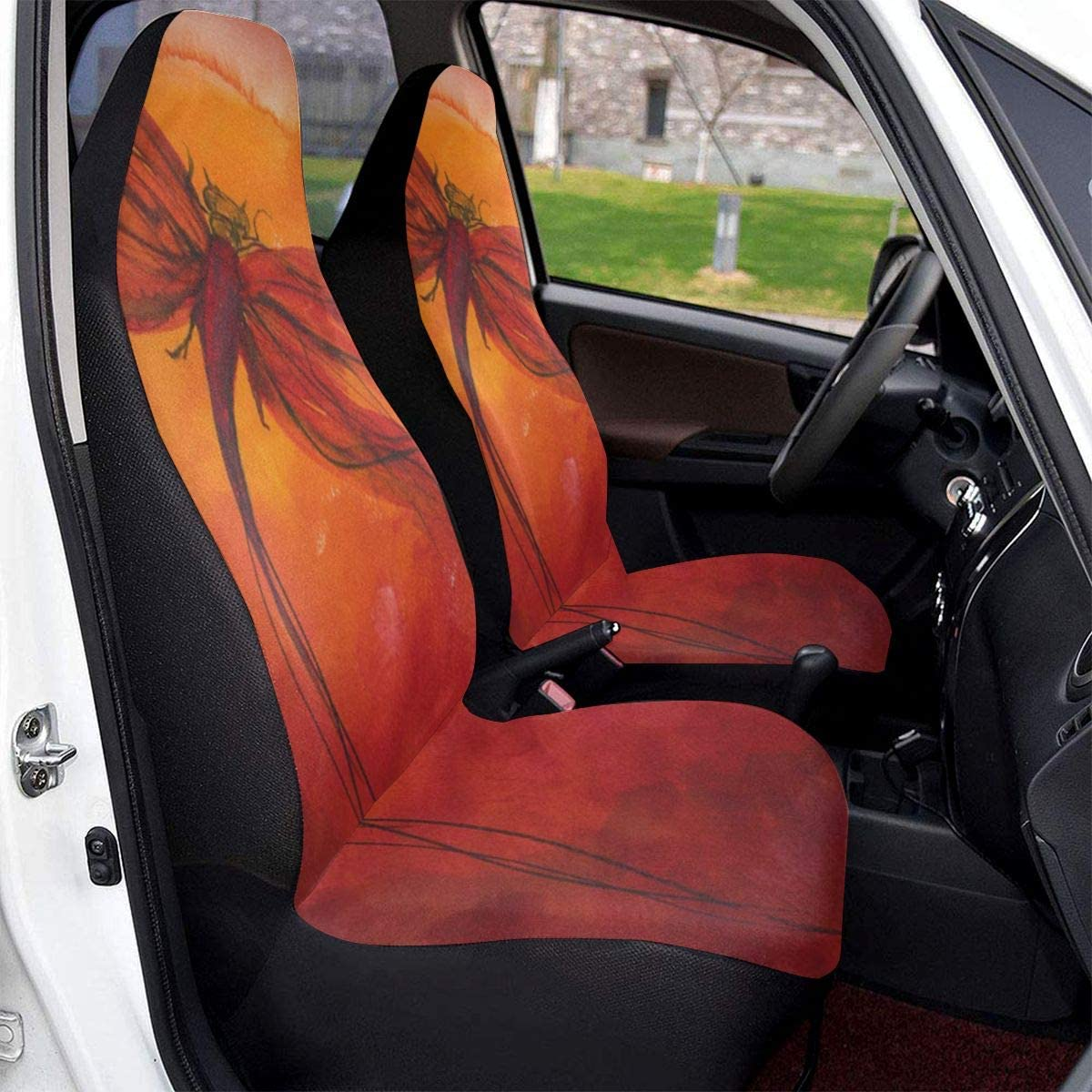 HDSTGD Car Seat Covers,Red Dragonfly Design Front Seat Covers 1pc//2 Pc,Vehicle Seat Protector Car Mat Covers,Fit Most Vehicle,Cars,Sedan,Truck,SUV Or Van