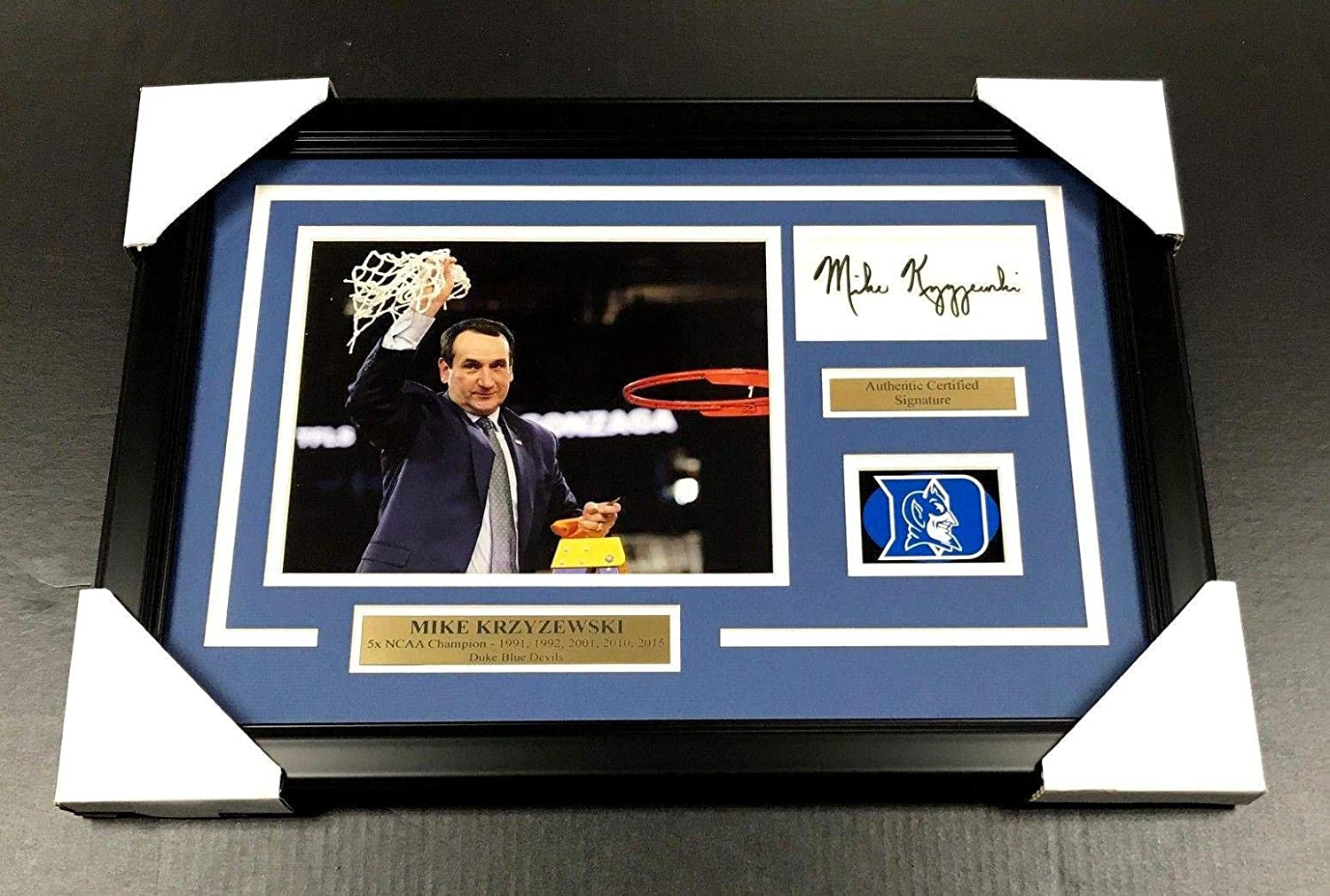 Mike Krzyzewski Signed Picture - COACH K 8X10 FRAMED - Autographed College Photos Baseball Card Outlet