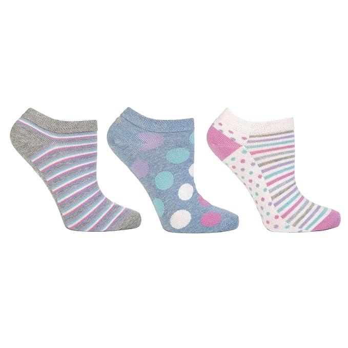 Calcetines tobilleros de algodón a rayas/de topos estampados para mujer (pack de 3