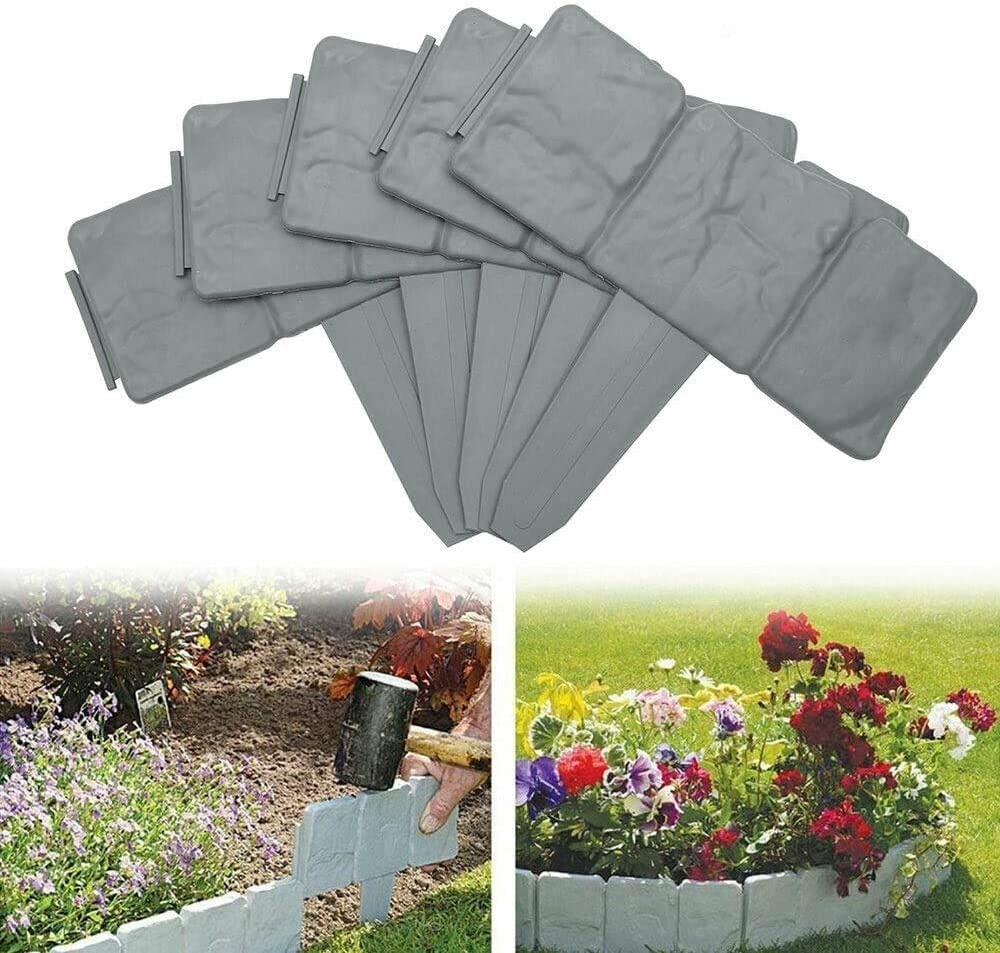 RZMY 40Pcs Garden Edging Border - Gray Decorative Flower Bed Interlocking Outdoor Lawn Border(32.8')