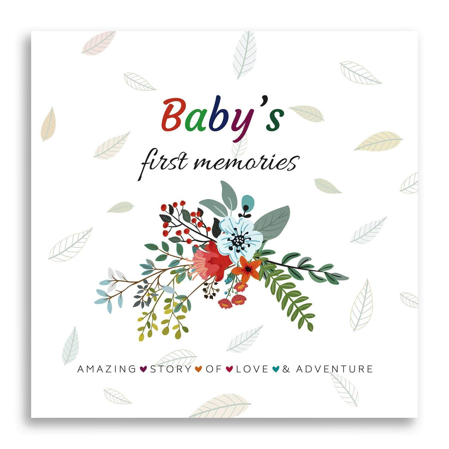 FABANA First 5 Years Baby Memory Book Modern Baby Shower Gift Keepsake New Parents Newborn Nursery Record Journal Floral Scrapbook Boys Girls Unisex Photo Album 4X6 Memorial