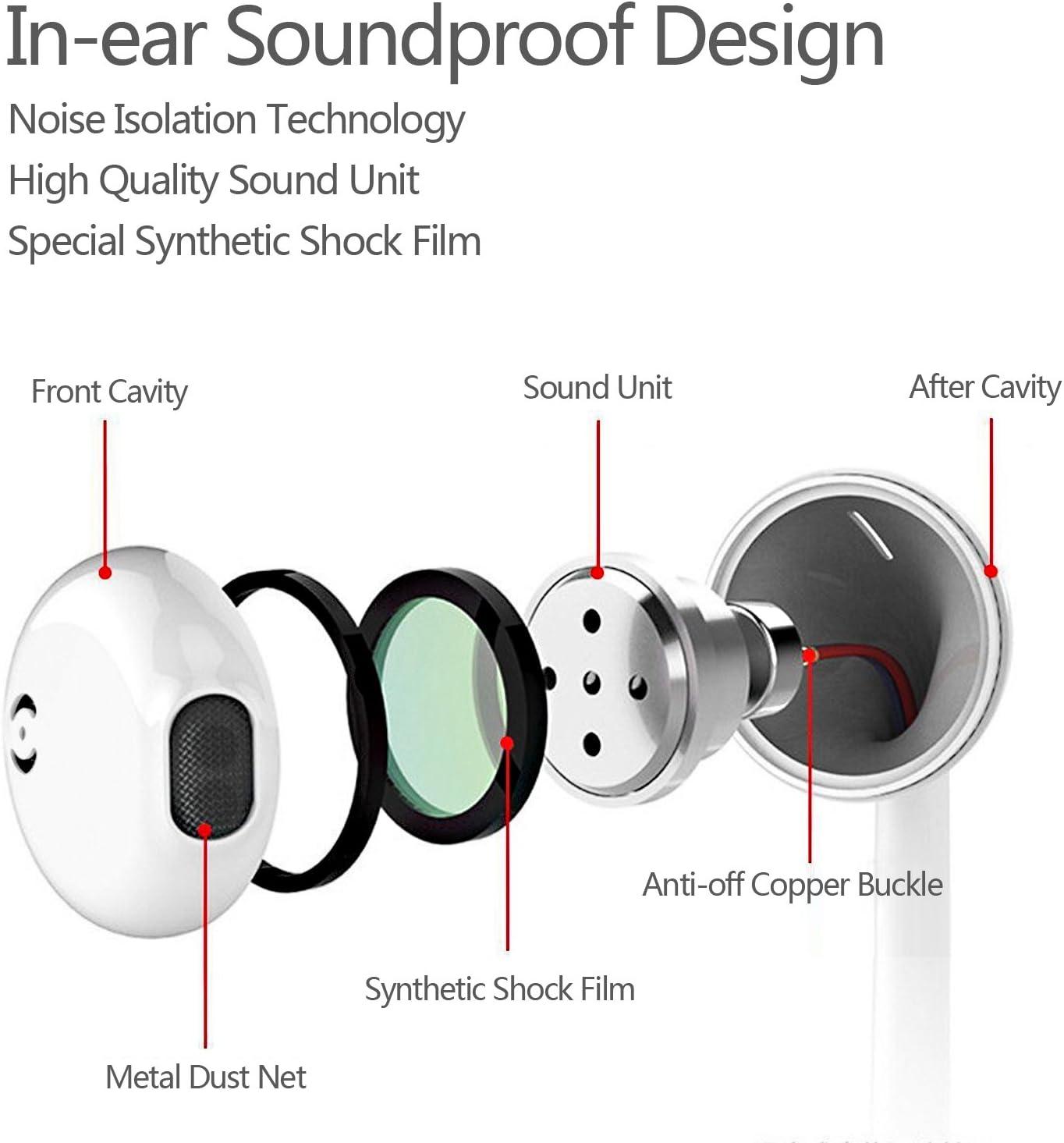 In-Ear Kopfh/örer Ger/äuschd/ämmende Ohrh/örer Kopfh/örer Headsets Earphones Ear Kopfh/örer mit Mikrofon kompatibel mit alle 3,5mm Klinkenstecker Samsung Huawei Android Smartphone und MP3 Player