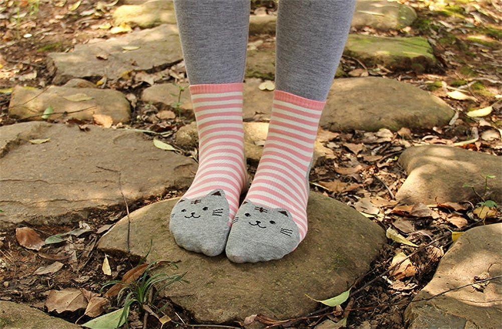 AnVei-Nao Womens Girls Stripe Cute Cat Cotton Soft Pattern Crew Socks 6 Pairs