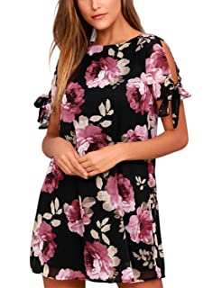 5e44376d7570 BMJL Women s Dresses Cold Shoulder Tie Chiffon Floral Print Shift Short  Sleeve Flare Casual Loose Round