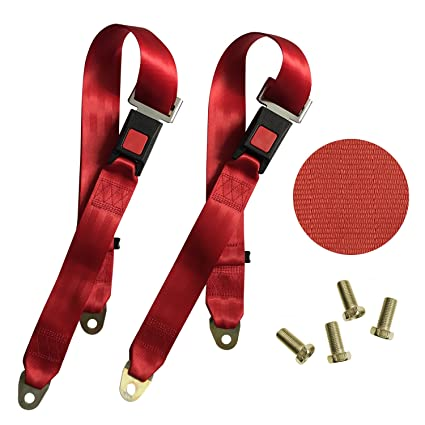 Red TIHEEN 2 Point Adjustable Seat Safety Belt Harness Kit Single Double Seat Lap Seatbelt Universal for Go Kart UTV Buggie Club Vehicle Truck 54 Inch 2 Pack