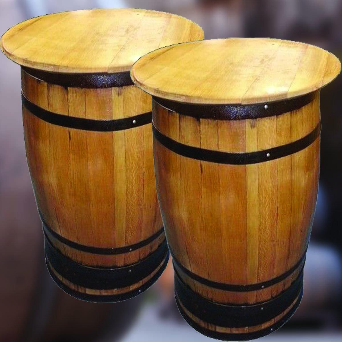 Solid Oak Refurbished Whisky Barrel Bar Poser Table for PatioBeer Garden