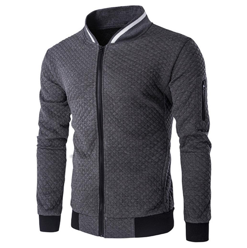 HTHJSCO Tops Jacket Coat, Mens Casual Soft Lightweight Zip up Baseball Collar Bomber Jacket with Diamond Plaid (Dark Gray, S)