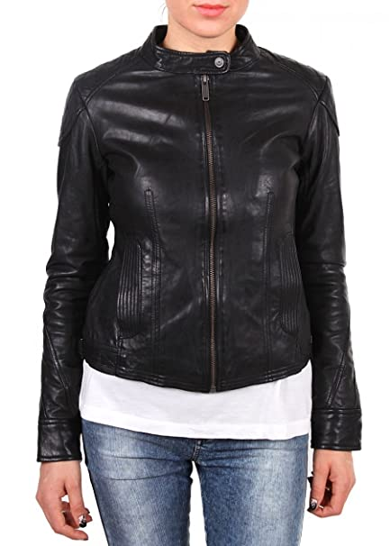 on sale 8ea43 1f63d BOMBOOGIE Giacca da donna in pelle GIUBBOTTO donna black ...