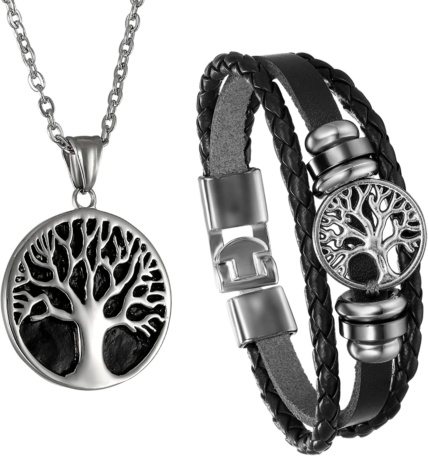 Cupimatch Men Tree of Life Symbol Pendant Necklace Leather Bracelet, Stainless Steel 22 inch Chian Jewelry Set
