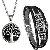 Men Tree of Life Symbol Pendant Necklace Leather Bracelet, Cupimatch Stainless Steel 22 inch Chian Jewelry Set